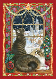 Copyright Lesley Ivory - The Christmas window with Tam and Agneatha