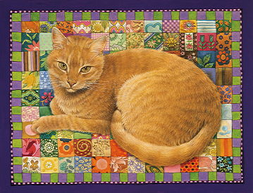 Copyright Lesley Ivory - Spiro on patchwork squares