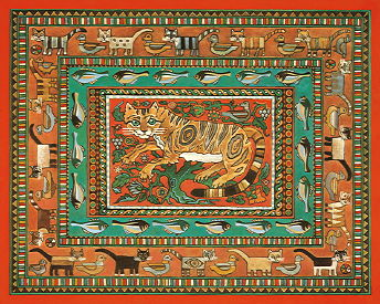 Copyright Lesley Ivory - Stylised Egyptian cats