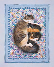 Copyright Lesley Ivory - Agneatha and her first kittens on blue patchwork