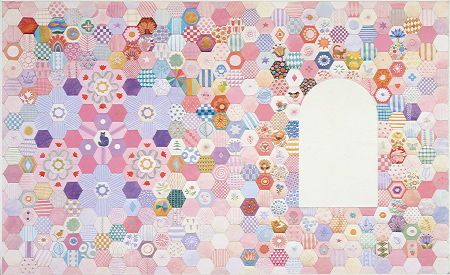 Copyright Lesley Ivory - Pink hexagon background