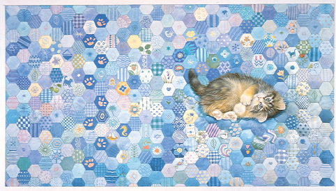 Copyright Lesley Ivory - Agneatha on blue patchwork