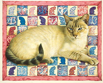Copyright Lesley Ivory - Ra-Ra on cat quilt