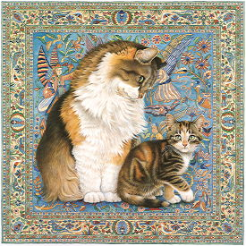 Copyright Lesley Ivory - Agneatha and Avril on Persian carpet