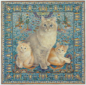 Copyright Lesley Ivory - Pearl on Persian carpet with Sapphron and Crookshanks