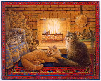 Copyright Lesley Ivory - Mintaka, Dandelion and Agneatha by their fireside