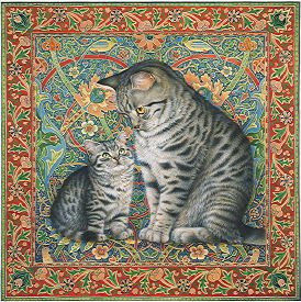 Copyright Lesley Ivory - Mintaka and Lucy on an English carpet