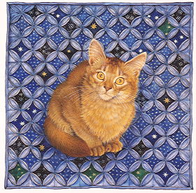 Copyright Lesley Ivory - June's cat Simba on starry cathedral patchwork