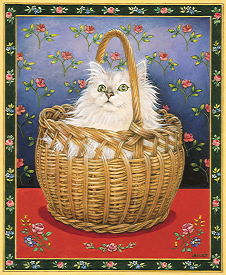 Copyright Lesley Ivory - Rose's cat Bengy in a basket