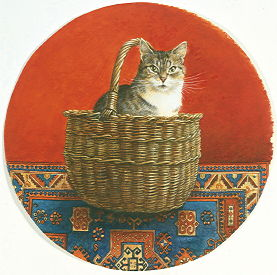 Copyright Lesley Ivory - Gemma in a wicker basket