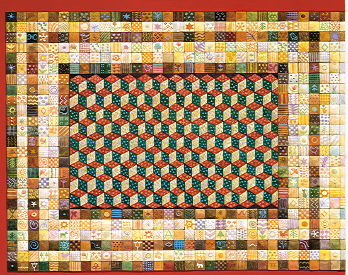 Copyright Lesley Ivory - Border of squares with central pattern of patchwork tumbling blocks