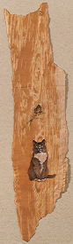 Copyright Lesley Ivory - Delabole with speckled wood butterfly painted on birch bark