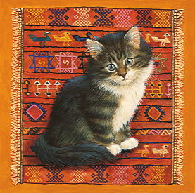 Copyright Lesley Ivory - Splodge on Peruvian rug
