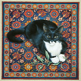 Copyright Lesley Ivory - Posky on Oriental rug