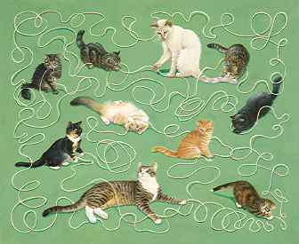 Copyright Lesley Ivory - End papers - kittens with string