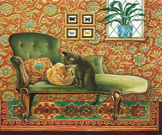 Copyright Lesley Ivory - Spiro and Blossom on chaise longue
