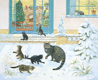 Copyright Lesley Ivory - Muppet and her kittens in the snow