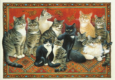 Copyright Lesley Ivory - Family group of the Ivory cats