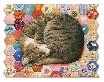 Copyright Lesley Ivory - Gemma asleep on pink patchwork
