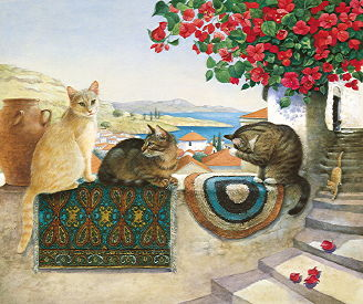 Copyright Lesley Ivory - Cats under the bougainvillea