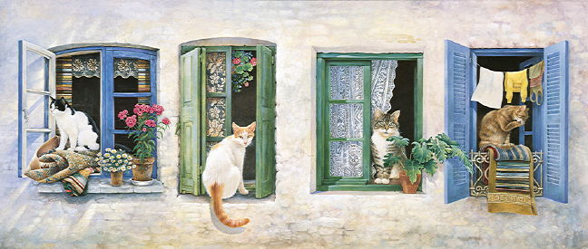Copyright Lesley Ivory - Two Greek cats... and Gemma and Blossom in windows