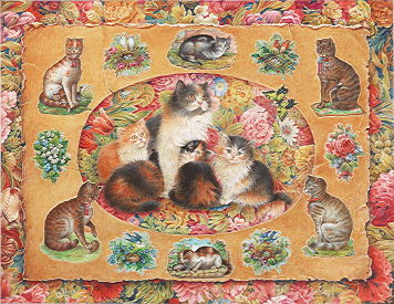 Copyright Lesley Ivory - Tansy and her kittens among Victorian scraps