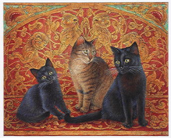 Copyright Lesley Ivory - James's cats Hannible, Morse and Sage