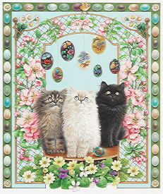 Copyright Lesley Ivory - MAY - Easter with Anne's kittens Fionora, Cherubino and Dickens