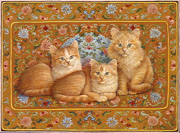 Copyright Lesley Ivory - Abigail's cats kittens Crookshanks, Sapphy and Motley on Qing Dynasty silk