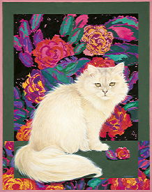 Copyright Lesley Ivory - Rose's cat and the Art Deco roses