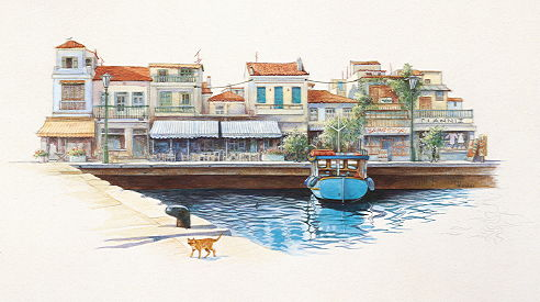 Copyright Lesley Ivory - Greek cat by the harbour