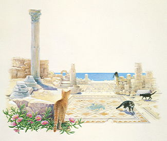Copyright Lesley Ivory - Cats among the mosaics
